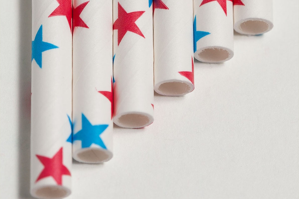 Aardvark paper straws in red and blue stars