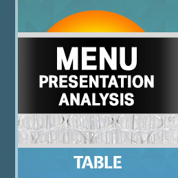Menu Presentation Analysis report cover